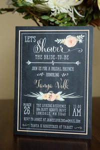 Bridal Shower Brunch Invitation Rustic Floral Chalkboard