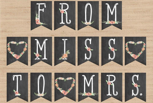 From Miss to Mrs. Rustic Bridal Shower Banner