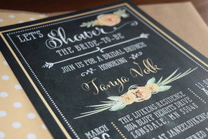 Chalkboard Floral Rustic Bridal Shower Invitation