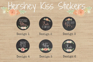 Rustic Bridal Shower Floral Chalkboard Stickers