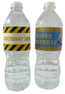 Construction Birthday Party Water Bottle Labels
