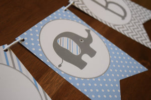 Baby Boy Banner Elephant Theme Shower