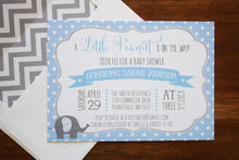 Load image into Gallery viewer, Elephant Baby Shower Invitation Blue and Gray Chevron