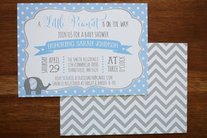 Elephant Baby Shower Invite Chevron and Polka Dot