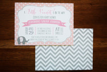 Load image into Gallery viewer, Elephant Baby Shower Invite Chevron and Polka Dot