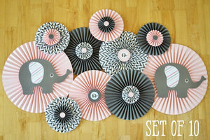 Girl Elephant Baby Shower Paper Fan Decorations