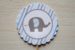 Baby Shower Cupcake Toppers Elephant Theme