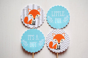 Woodland Baby Shower Decorations Fox Cupcake Toppers