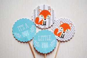 Woodland Baby Shower Fox Cupcake Toppers