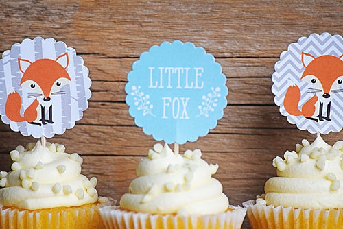 Woodland Baby Shower Decoration Cupcake Toppers