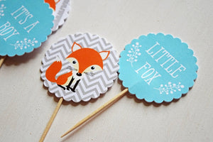 Woodland Cupcake Toppers Teal Gray Orange