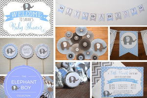 Elephant Baby Shower Decorations in Gray and Blue