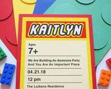 Load image into Gallery viewer, Lego Birthday Invitation