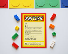 Load image into Gallery viewer, Lego Birthday Party Invitation