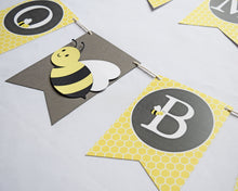 Load image into Gallery viewer, Bumble Bee Baby Shower Banner Pennant Style