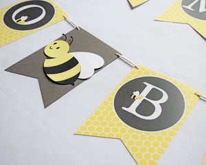 Bumble Bee Baby Shower Banner Pennant Style