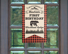 Load image into Gallery viewer, Lumberjack Birthday Party Buffalo Plaid Welcome Sign