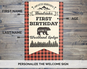 Lumberjack Birthday Party Welcome Sign Personalized