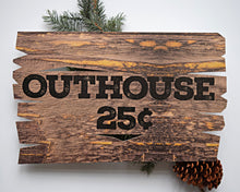 Load image into Gallery viewer, Rustic Outhouse Sign Lumberjack Birthday Party Decoration