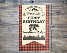 Load image into Gallery viewer, Lumberjack Birthday Party Decorations Welcome Sign