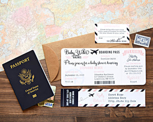 Airplane Baby Shower Boarding Pass Invitation