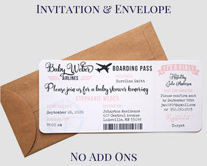 Airplane Boarding Pass Invitation Kraft Envelope