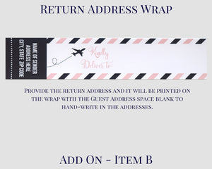 Airplane Baby Shower Return Address Wrap Airmail