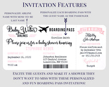 Load image into Gallery viewer, Airplane Boarding Pass Baby Shower Invitation