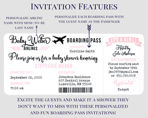 Airplane Boarding Pass Baby Shower Invitation