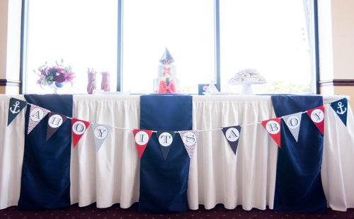 Nautical Baby Shower Ahoy It's A Boy Banner Decoration