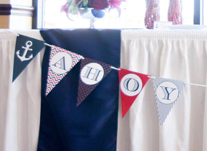Ahoy It's A Boy Banner Nautical Baby Shower Decorations