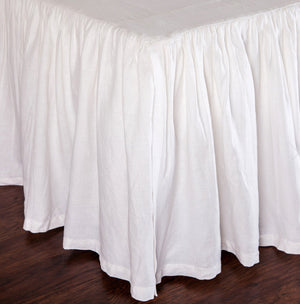 Pom Pom at Home Gathered Linen Bedskirt - White