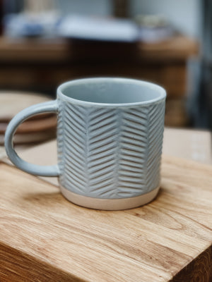 Grey Debossed Stoneware Mug
