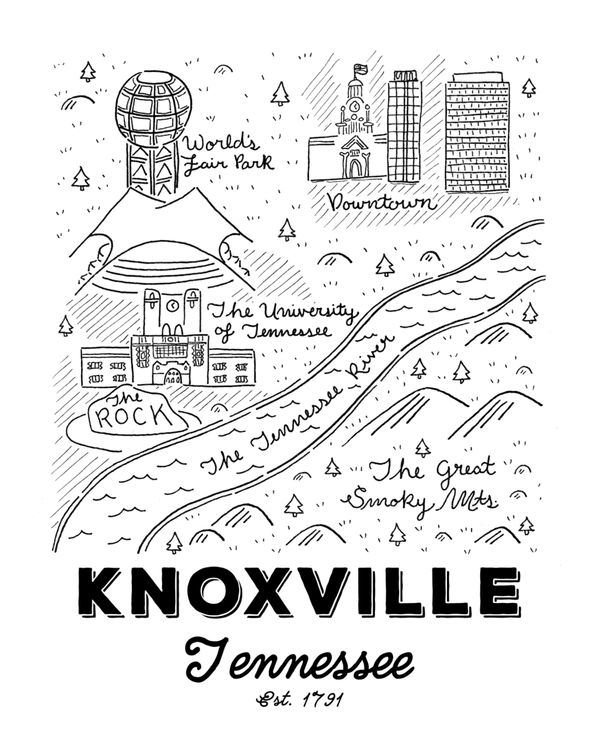Knoxville Map Print 8x10