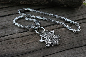 Stainless Steel Wolf Head Kings Chain