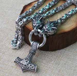 Stainless Steel Viking Mjolnir Necklace With Wolfhead Chain