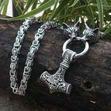 Load image into Gallery viewer, Stainless Steel Viking Mjolnir Necklace With Wolfhead Chain