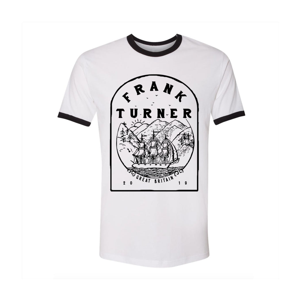 Frank Turner Ship Mountains Ringer T- Shirt - Flagship Apparel LLC