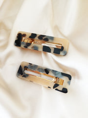 Resin Rectangle Tortoise Hair Clip