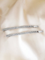 Sleek Crystal Rhinestone Hair Pins (set of 2)