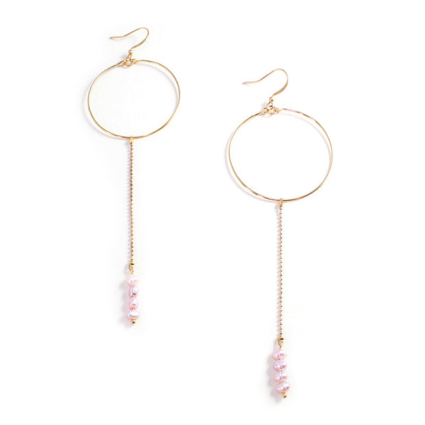 Elsa Pearl Drop Hoop Earrings