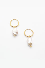 Nugget Pearl Hoops