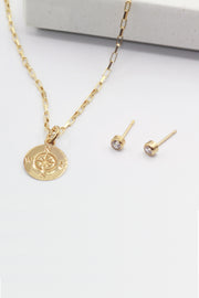 Compass Necklace and Earrings Set