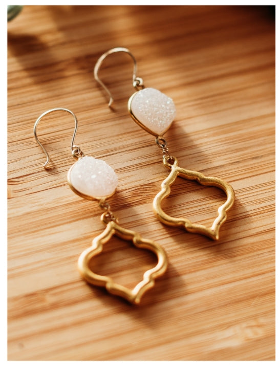 Druzy earrings with 14k Gold-filled earwire