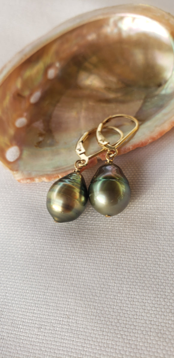 Stunning Baroque Tahitian pearl earrings