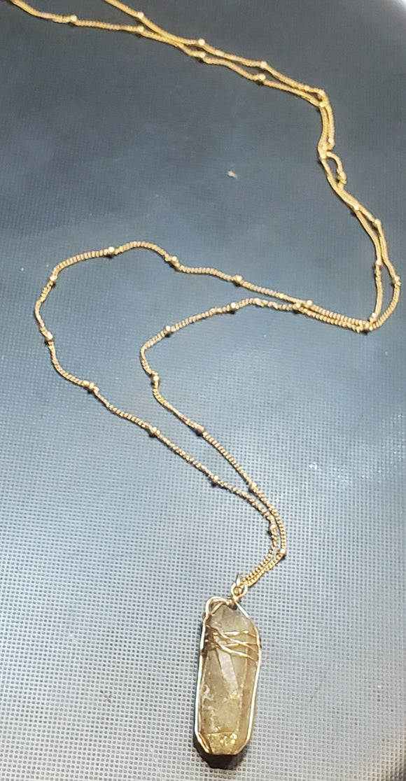 Wire wrapped Quartz crystal on 14k gold-filled satellite chain