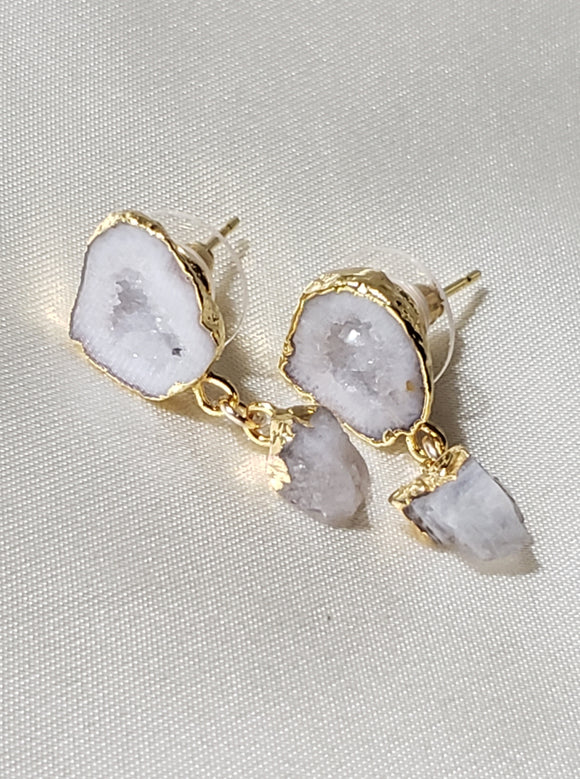 Druzy Geode Stud earrings with Rainbow Moonstone