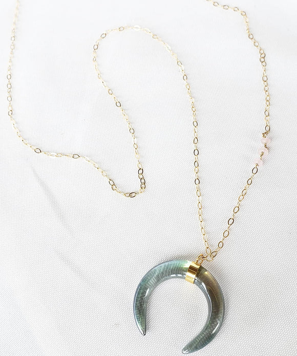 Glass Titanium Moon Crescent Necklace