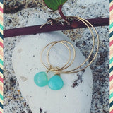 Gold Hoops with Chalcedony