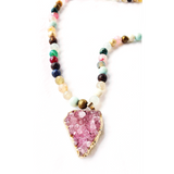 Mala beaded necklace with quartz druzy